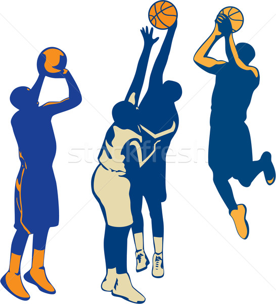 Basketball Player Shoot Ball Retro Collection Stock photo © patrimonio