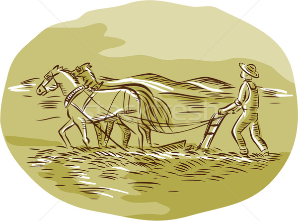 Farmer and Horses Plowing Field Oval Etching Stock photo © patrimonio