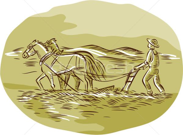 Jeans cavalos campo oval feito à mão Foto stock © patrimonio