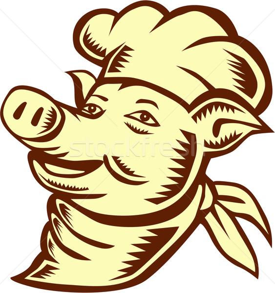 Pig Chef Cook Head Looking Up Woodcut Stock photo © patrimonio