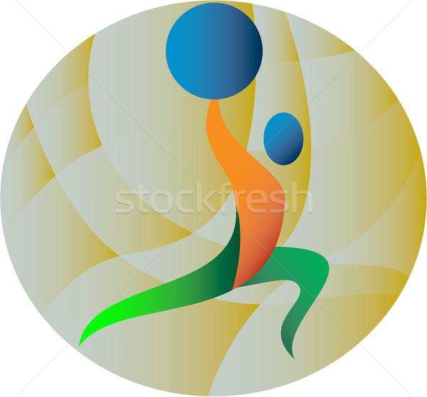 Gewichtheffer gewichten cirkel retro illustratie Stockfoto © patrimonio