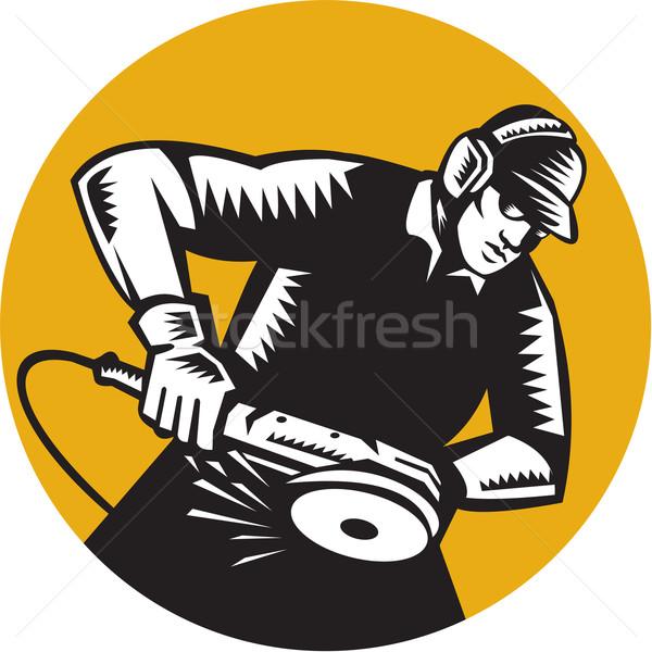 Munkás szög daráló ovális illusztráció visel Stock fotó © patrimonio
