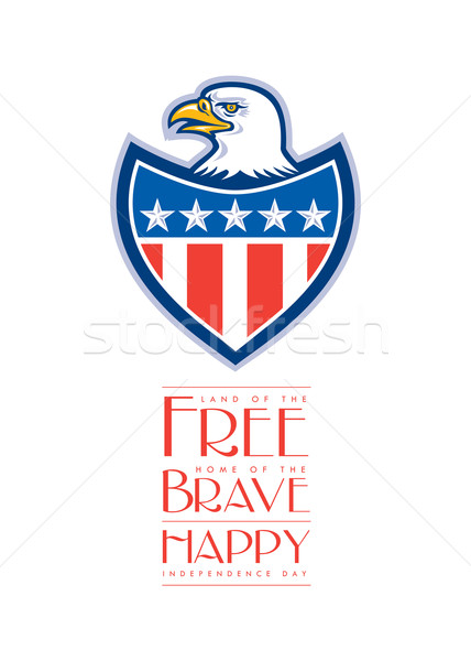 день приветствие лысые орел флаг щит Сток-фото © patrimonio