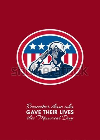 Dzień kartkę z życzeniami amerykański patriota banderą domu Zdjęcia stock © patrimonio