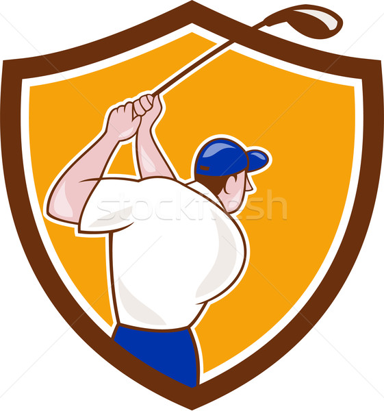 Golfer Swinging Club Crest Cartoon Stock photo © patrimonio