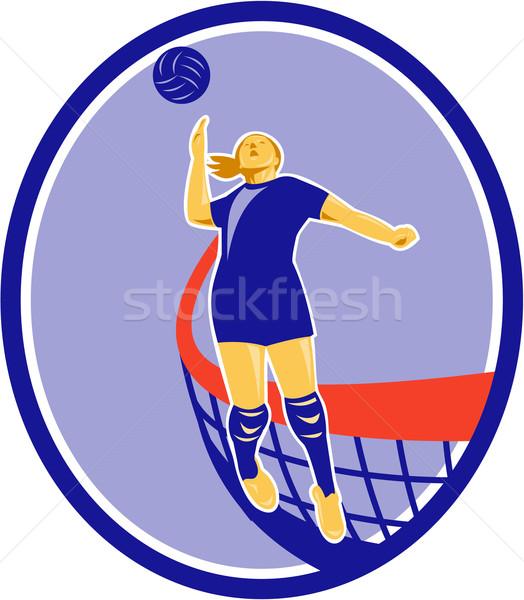 волейбол игрок мяча овальный ретро иллюстрация Сток-фото © patrimonio