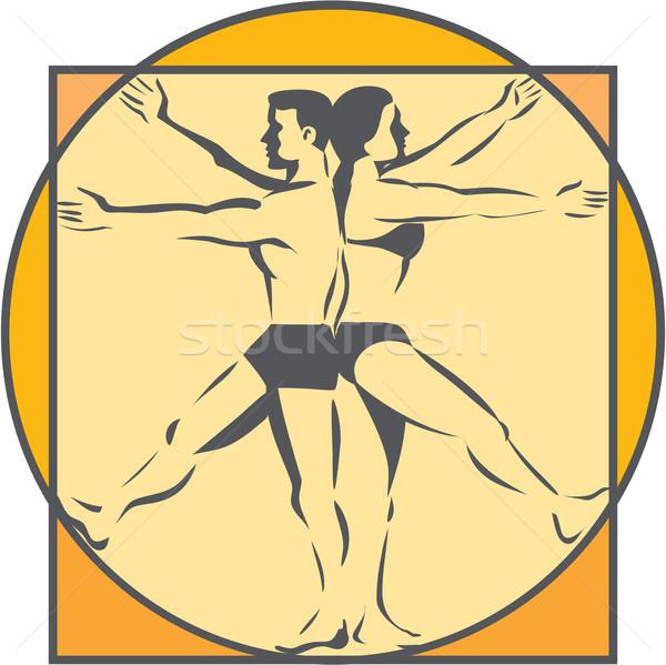 Da Vinci Male Female Side Arms Legs Line Drawing Retro Stock photo © patrimonio
