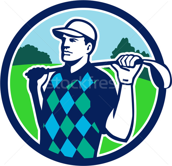 Golfer Golf Club Shoulders Circle Retro Stock photo © patrimonio