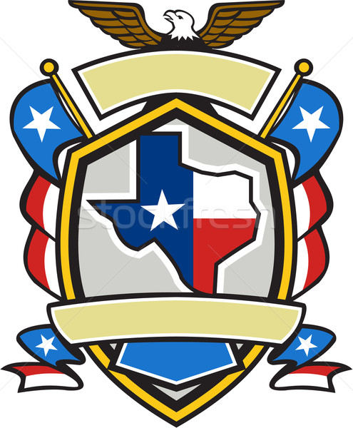 Texas State Map Flag Coat of Arms Retro Stock photo © patrimonio