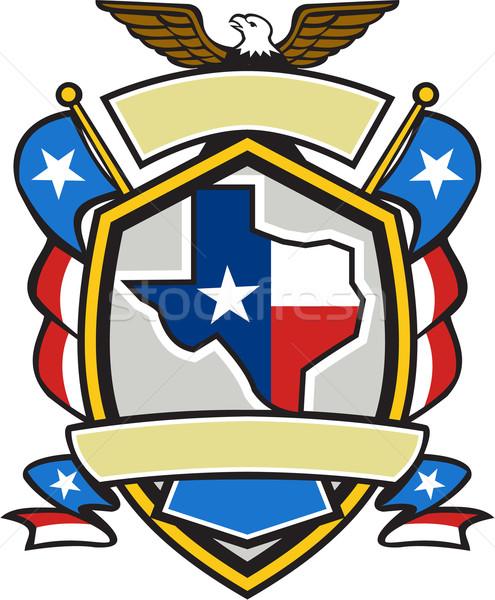 テキサス州 地図 フラグ コート 腕 レトロな ストックフォト © patrimonio