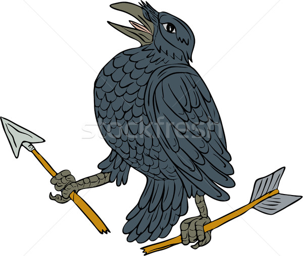 Crow Clutching Broken Arrow Drawing Stock photo © patrimonio