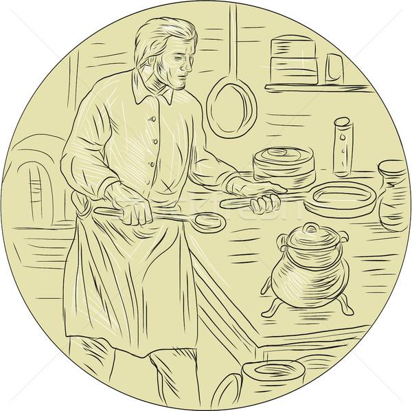 средневековых Кука кухне овальный рисунок эскиз Сток-фото © patrimonio