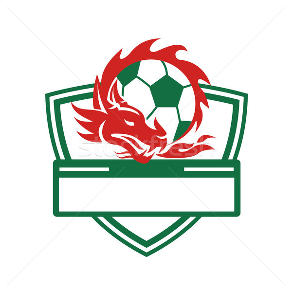 Red Dragon Soccer Ball Crest Stock photo © patrimonio