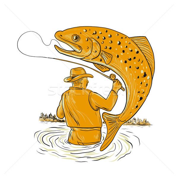 Volar pescador trucha dibujo boceto estilo Foto stock © patrimonio