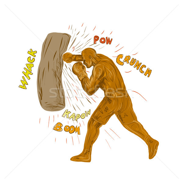 Boxer Hitting Punching Bag Drawing Stock photo © patrimonio