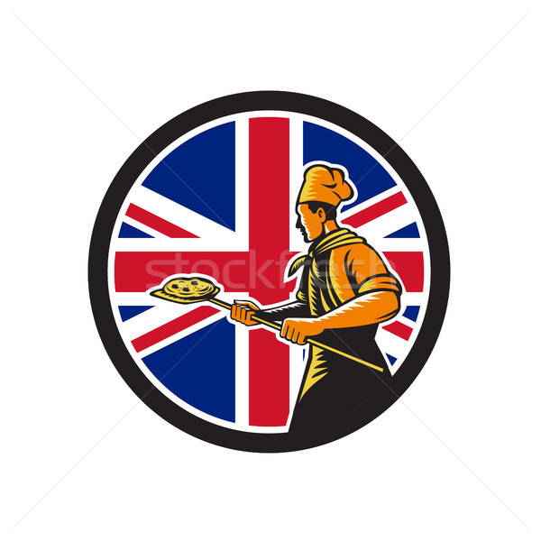 Brits pizza bakker union jack vlag icon Stockfoto © patrimonio