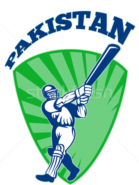 Krikett játékos retro Pakisztán illusztráció denevér Stock fotó © patrimonio