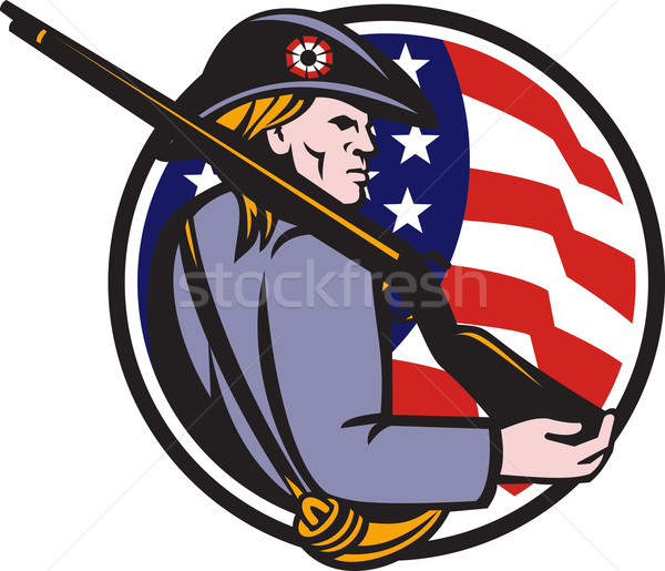 American Patriot Minuteman With Rifle And Flag Stock photo © patrimonio