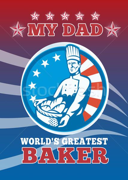 Mijn vader grootst bakker wenskaart poster Stockfoto © patrimonio