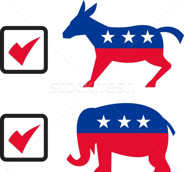 Republikein olifant democraat ezel verkiezing stemmen Stockfoto © patrimonio