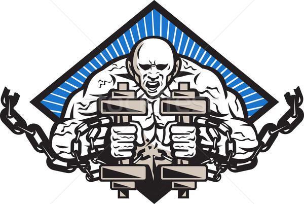 Strongman With Dumbbell In Chains Stock photo © patrimonio