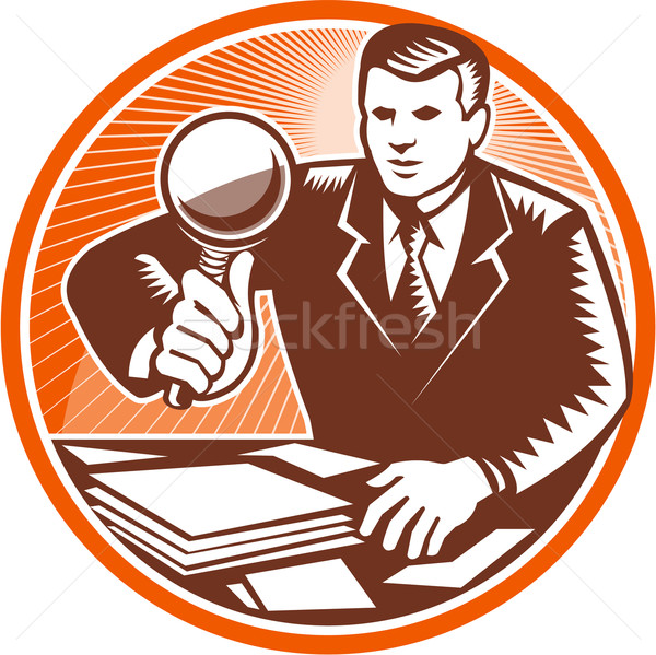 Businessman Magnifying Glass Looking Documents Stock photo © patrimonio