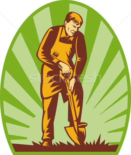Kertész gazda ásó illusztráció fű retro Stock fotó © patrimonio