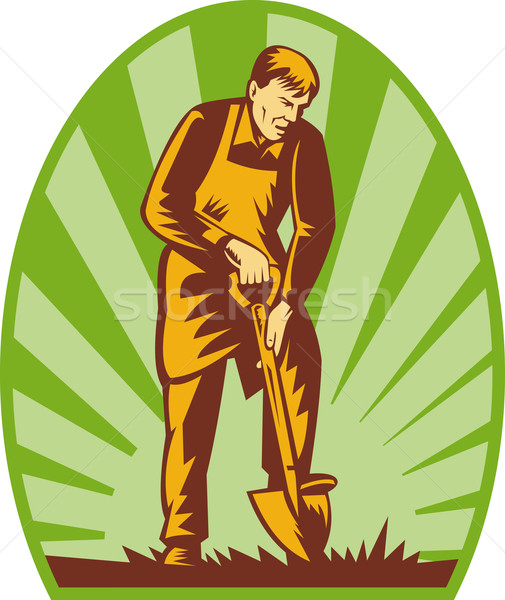 Gardener or farmer digging with shovel Stock photo © patrimonio