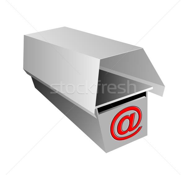 Grijs mailbox teken illustratie geïsoleerd witte Stockfoto © patrimonio