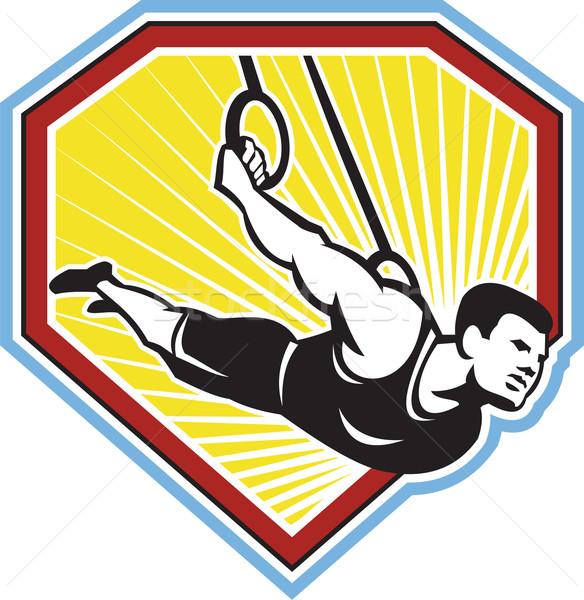 Crossfit Athlete Muscle-Up Gymnastics Ring Retro Stock photo © patrimonio