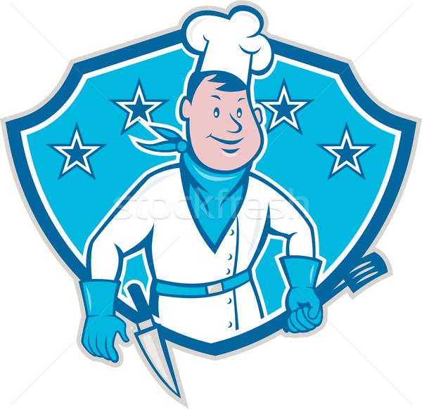 Szakács szakács csillag pajzs illusztráció szedőlapát Stock fotó © patrimonio