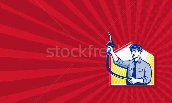 Gas Jockey Gasoline Attendant Fuel Pump Nozzle Stock photo © patrimonio