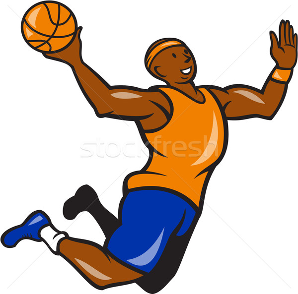 Basketball Player Dunking Ball Cartoon Stock photo © patrimonio