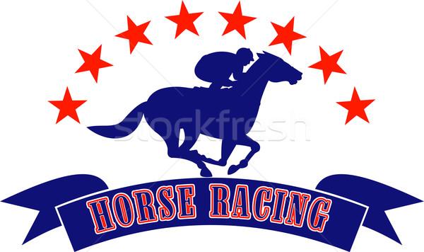 Horse and jockey racing silhouette stars Stock photo © patrimonio
