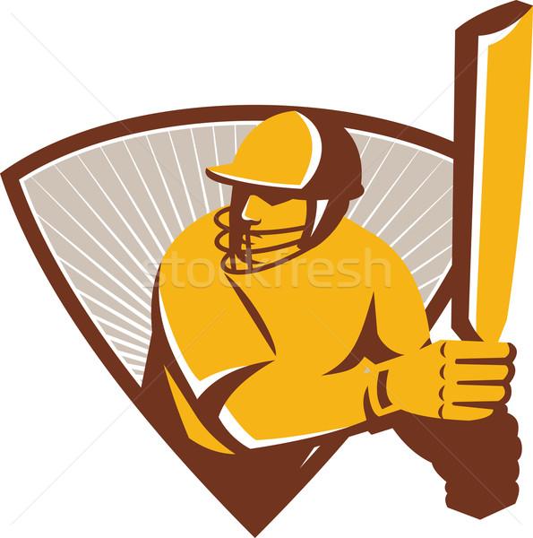 Cricket Batsman Batting Shield Retro Stock photo © patrimonio