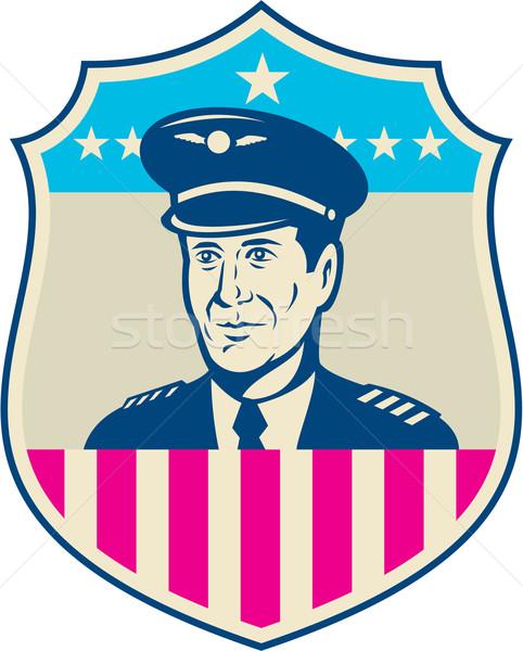 Amerykański linia lotnicza pilota USA banderą tarcza Zdjęcia stock © patrimonio