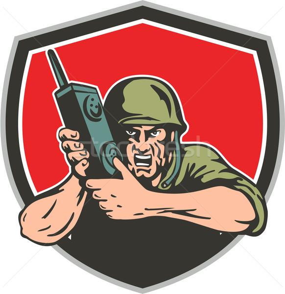 World War Two American Soldier Field Radio Shield Stock photo © patrimonio