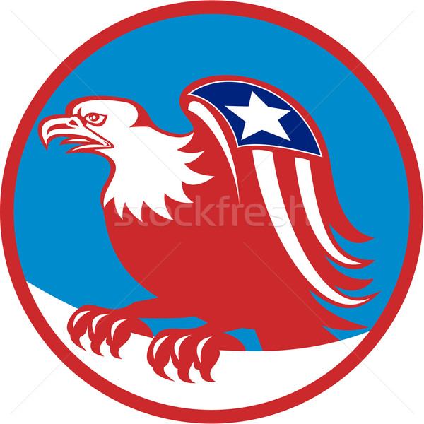 American Eagle Flag On Wing Perching Circle Retro Stock photo © patrimonio