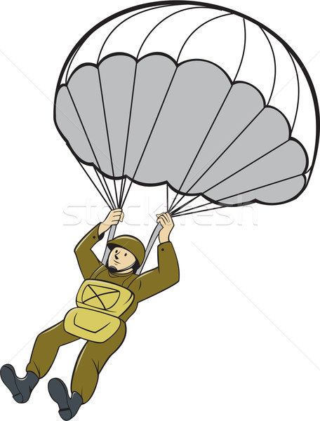 American Paratrooper Parachute Cartoon Stock photo © patrimonio