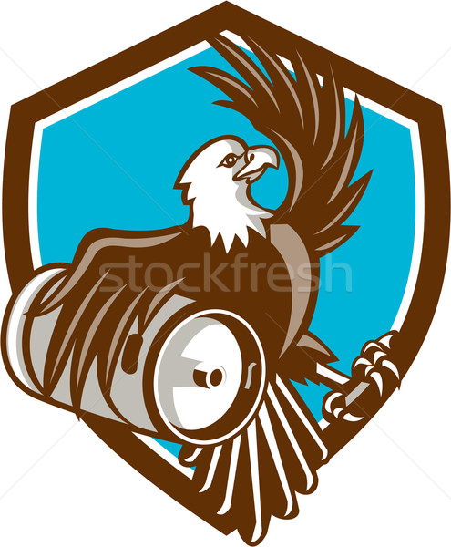 American Bald Eagle Beer Keg Crest Retro Stock photo © patrimonio