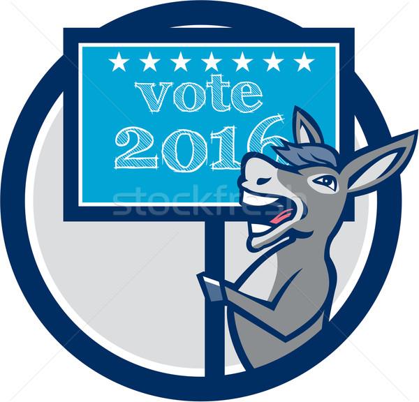 Głosowania 2016 demokrata osioł maskotka kółko Zdjęcia stock © patrimonio
