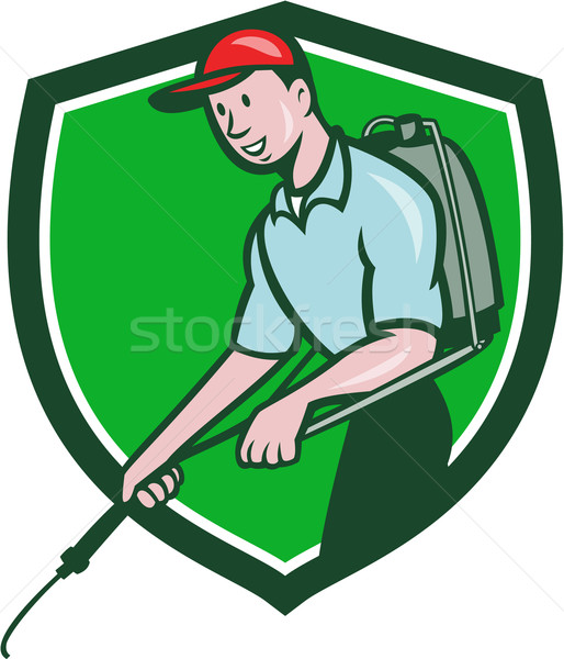 Pest Control Exterminator Spraying Crest Cartoon Stock photo © patrimonio