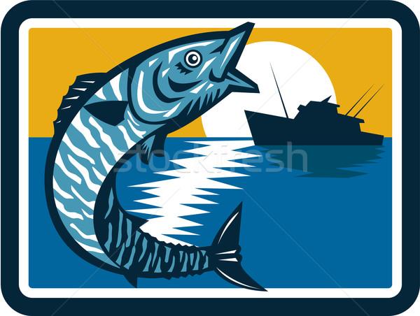 Vis springen vissersboot vierkante retro illustratie Stockfoto © patrimonio