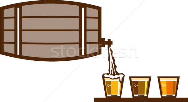 Beer Flight Keg Pouring on Glass Retro Stock photo © patrimonio