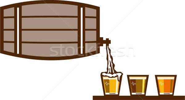 Beer Flight Keg Pouring on Glass Retro Stock photo © patrimonio