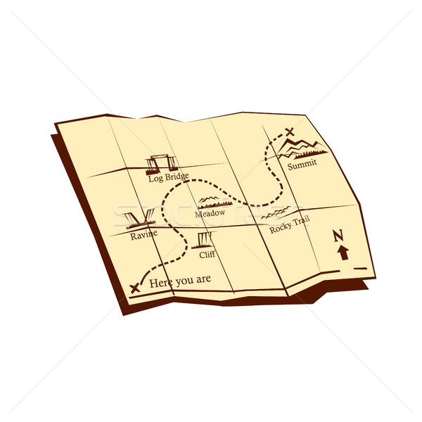 Map of Trail with X Marks The Spot Woodcut Stock photo © patrimonio