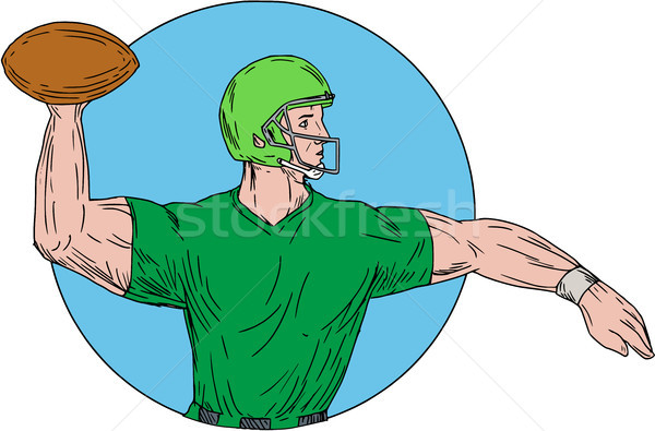 Quarterback QB Throwing Ball Circle Drawing Stock photo © patrimonio