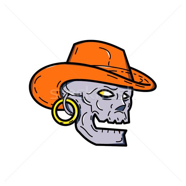 Cowboy Pirate Skull Mono Line Art Stock photo © patrimonio