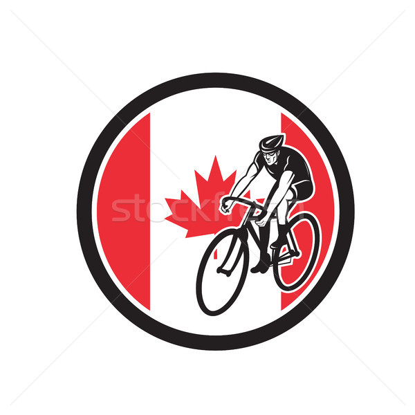 Canadian Cyclist Cycling Canada Flag Icon Stock photo © patrimonio