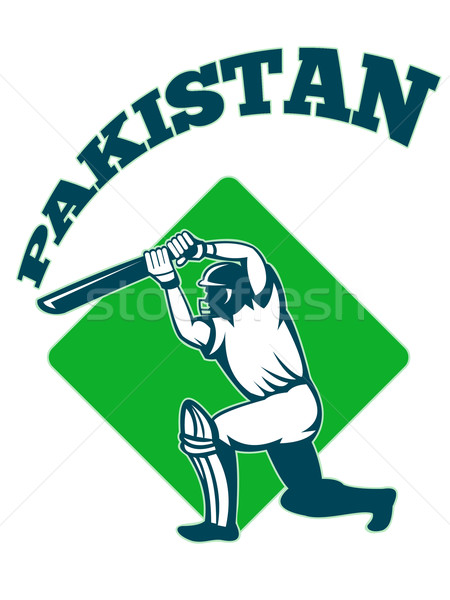 cricket player batsman batting retro Pakistan Stock photo © patrimonio